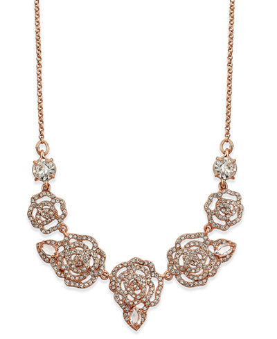 kate spade new york Rose Gold-Tone Pavé Rose Necklace