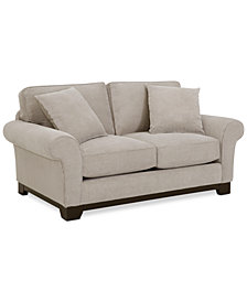 "Medland 69"" Fabric Roll Arm Loveseat with 2 Toss Pillows - Custom Colors, Created for Macy's"