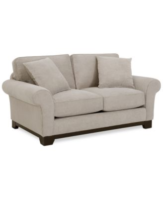 medland fabric roll arm loveseat with 2 toss pillows custom colors created for macyu0027s