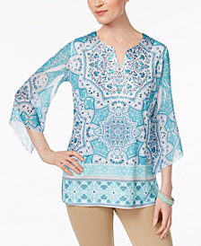 JM Collection Chiffon-Sleeve Studded Tunic, Only at Mayc's