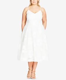 City Chic Trendy Plus Size Floral-Appliqué Fit & Flare Dress