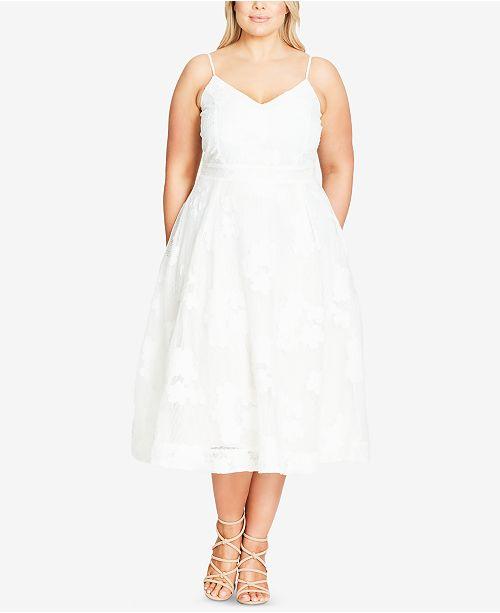 aa49086e05d ... Flare Dress  City Chic Trendy Plus Size Floral-Appliqu eacute  Fit ...