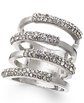 INC International Concepts Silver-Tone Four Open Row Pavé Ring, Created for Macy's