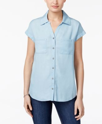 Image of Style & Co Short-Sleeve Denim Shirt, Only at Macy's