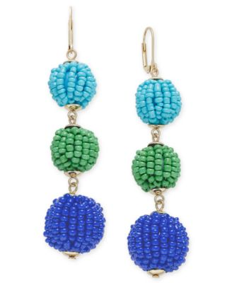 Image of INC International Concepts Gold-Tone Colored Bead Triple Drop Earrings, Created for Macy's