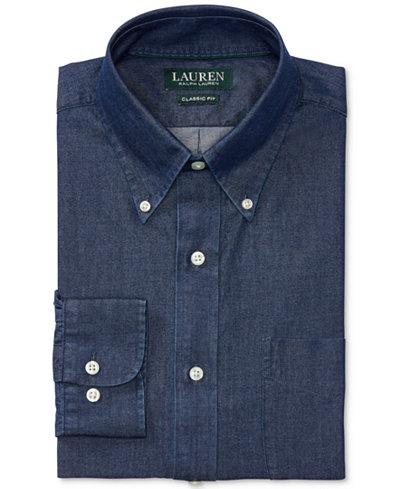 lauren ralph lauren mens relaxed fitclassic indigo cotton dress shirt - Ralph Lauren Indigo