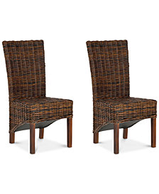 Lynmore Set of 2 Wicker Dining Chairs, Quick Ship