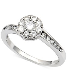 Diamond Halo Cluster Ring (5/8 ct. t.w.) in 14k White Gold