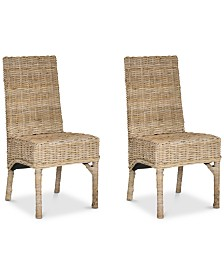 Jasen Set of 2 Wicker Dining Chairs, Quick Ship