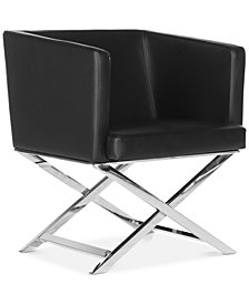 Birtley Leather Accent Chair, Quick Ship