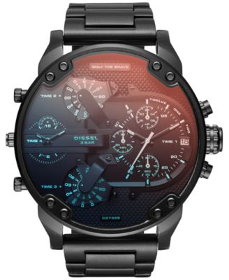 Men's Mr. Daddy 2.0 Black Stainless Steel Bracelet Watch 57mm DZ7395
