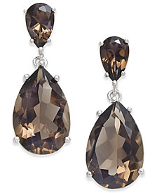 Smoky Topaz Teardrop Drop Earrings (7 ct. t.w.) in Sterling Silver