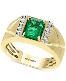 EFFY® Men's Emerald (1-3/8 ct. t.w.) and Diamond Accent Ring in 14k Gold