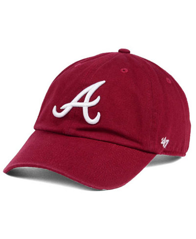 '47 Brand Atlanta Braves Cardinal and White Clean Up Cap