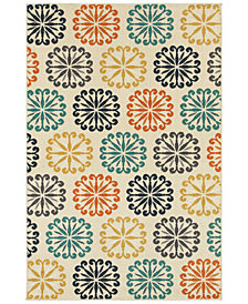 "CLOSEOUT! JHB Design  Soleil Sunburst Multi 5'3"" x 7'6"" Indoor/Outdoor Area Rug"