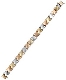 Tri-Tone Crisscross Link Bracelet in 14k Gold & Rhodium-Plating