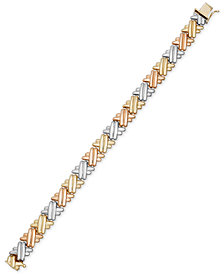 Tri-Tone Crisscross Link Bracelet in 14k Gold & Rhodium-Plating