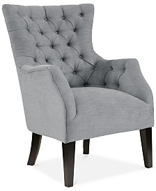 Adelyn Button Tufted Wing Back Chair, Quick Ship