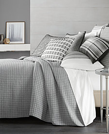 CLOSEOUT! Hotel Collection  Linen Plaid Quilted King Coverlet, Created for Macy's