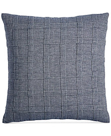 "CLOSEOUT! Hotel Collection  Ticking Stripe 18"" Square Decorative Pillow, Created for Macy's"