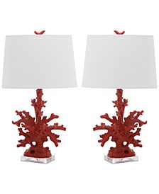 Set of 2 Coral Branch Table Lamps