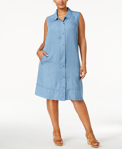 Style & Co Plus Size Denim Shirtdress, Created for Macy\'s ...