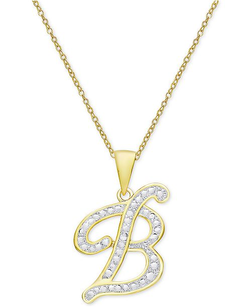 """Macy's Diamond Accent Script Initial 18"""" Pendant Necklace in 18k Gold Plate"""