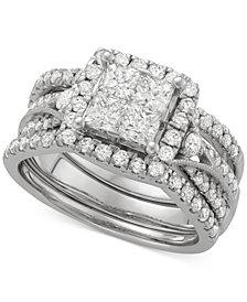 Diamond 3-Pc. Halo Quad Bridal Set (2 ct. t.w.) in 14k White Gold