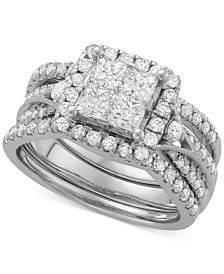 Diamond 3-Pc. Halo Quad Bridal Set (2 ct. t.w.) in 14k White Gold