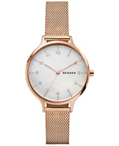 9aa616a6c83e Skagen Women s Anita Rose Gold-Tone Stainless Steel Mesh Bracelet Watch  36mm SKW2633