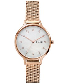 Skagen Women's Anita Rose Gold-Tone Stainless Steel Mesh Bracelet Watch 36mm SKW2633