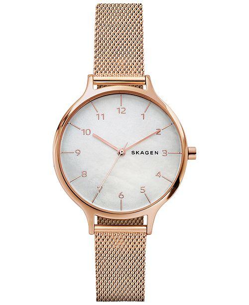 b72457743d3 ... Skagen Women s Anita Rose Gold-Tone Stainless Steel Mesh Bracelet Watch  36mm SKW2633 ...