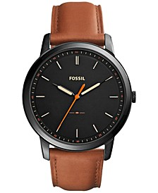 Men's The Minimalist Brown Leather Strap Watch 44mm FS5305