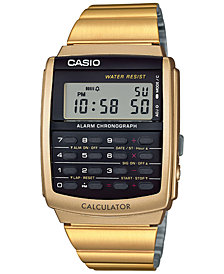 Casio Men's Digital Calculator Vintage Gold-Tone Stainless Steel Bracelet Watch 35x35mm CA506G-9AVT