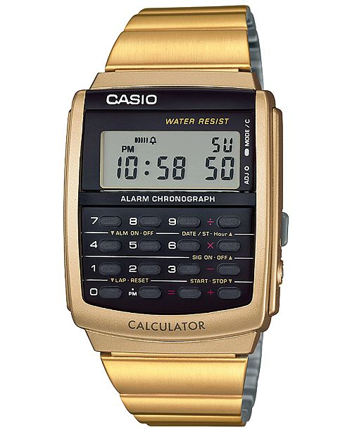 e5c708a8367 ... Casio Men s Digital Calculator Vintage Gold-Tone Stainless Steel  Bracelet Watch 35x35mm CA506G- ...