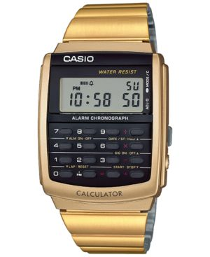 Casio Men's Digital Calculator Vintage Gold-Tone Stainless Steel Bracelet Watch 35x35mm CA506G-9AVT thumbnail