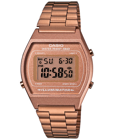 Casio Men's Digital Vintage Rose Gold-Tone Stainless Steel Bracelet Watch 39x39mm B640WC-5AMV