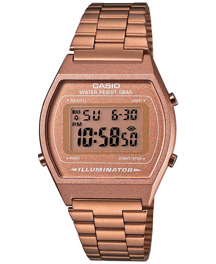 Casio - Men's Digital Vintage Rose Gold-Tone Stainless Steel Bracelet Watch 35mm B640WC-5AMV