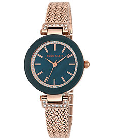 Anne Klein Women's Rose Gold-Tone Stainless Steel Bracelet Watch 30mm AK-1906NVRG