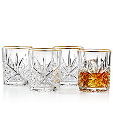 Godinger Dublin Gold  Double Old Fashioned Glasses, Set of 4