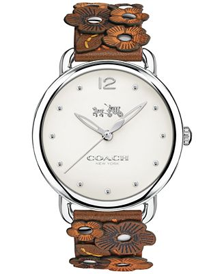 coach watch outlet 1em1  COACH Women's Delancey Saddle Port Leather Strap Watch 36mm 14502744