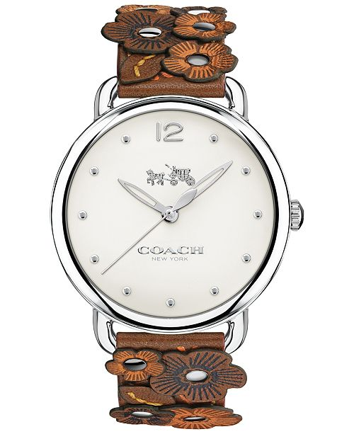 COACH Women's Delancey Saddle Port Leather Strap Watch 36mm 14502744