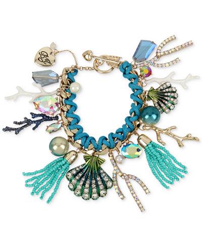 Betsey Johnson Gold-Tone Multi-Charm Toggle Bracelet