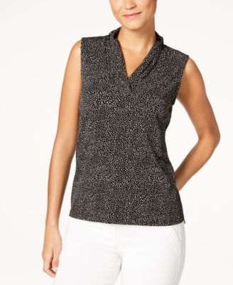 Printed Pleated V-Neck Top