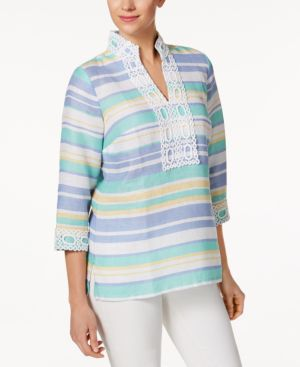 Charter Club Linen Striped Embroidered Tunic, Created for Macy's 4557116