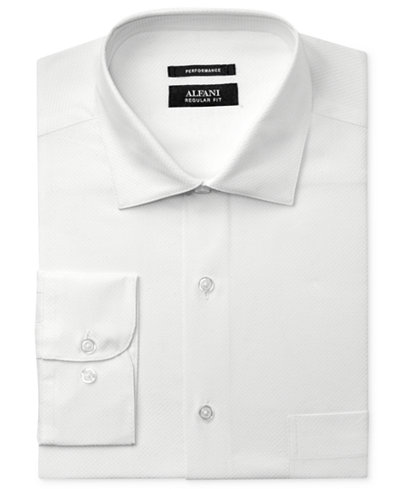 Alfani Men's Big and Tall Classic Fit Performance Stretch Easy-Care White Twill Textured Dress Shirt, Created for Macy's