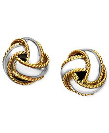 18K Gold over Sterling Silver Earrings, Love Knot Stud Earrings