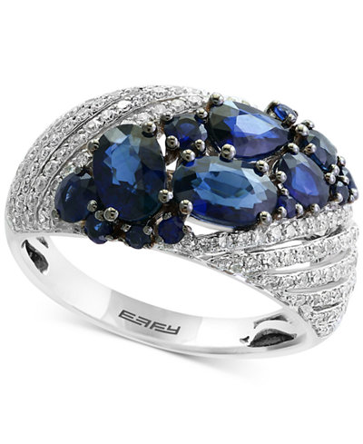 Royale Bleu by EFFY® Sapphire (2-1/10 ct. t.w.) and Diamond (3/8 ct. t.w.) Ring in 14k White Gold