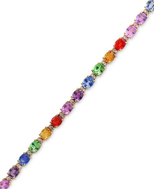 EFFY Collection Watercolors by EFFY® Multi-Gemstone (8-3/4 ct. t.w.) and Diamond (1/4 ct. t.w.) Link Bracelet in 14k Gold