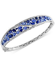 Royale Bleu by EFFY® Sapphire (7-1/3 ct. t.w.) and Diamond (1/2 ct. t.w.) Bangle Bracelet in 14k White Gold